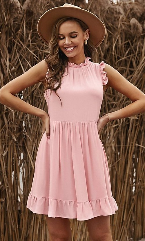 Image of ruffle cap-sleeve short a-line casual party dress. Style: FG-SHI-21-SW223664 Front Image