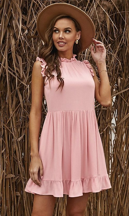 Image of ruffle cap-sleeve short a-line casual party dress. Style: FG-SHI-21-SW223664 Detail Image 6