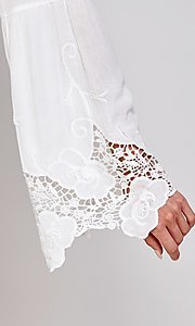 Image of short white party dress with long bell sleeves. Style: FG-ECR-21-ED16228TNA Detail Image 2