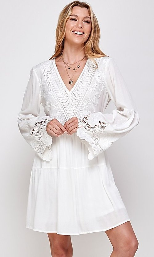 Image of short white party dress with long bell sleeves. Style: FG-ECR-21-ED16228TNA Front Image