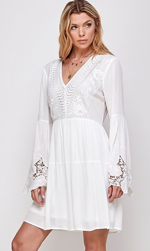 Image of short white party dress with long bell sleeves. Style: FG-ECR-21-ED16228TNA Detail Image 1