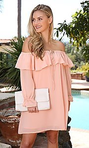 Image of long sleeve off-the-shoulder short party dress. Style: FG-NXS-21-CWDSD612-G Detail Image 1
