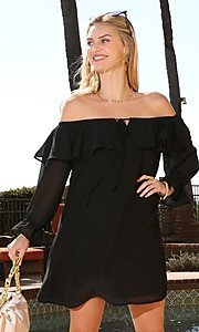 Image of long sleeve off-the-shoulder short party dress. Style: FG-NXS-21-CWDSD612-G Detail Image 2