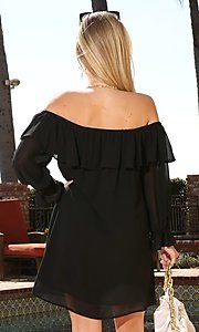Image of long sleeve off-the-shoulder short party dress. Style: FG-NXS-21-CWDSD612-G Detail Image 4