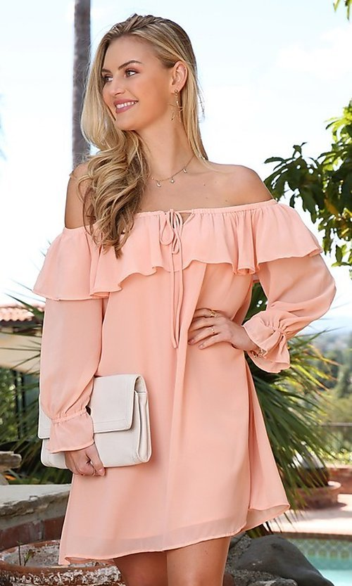 Image of long sleeve off-the-shoulder short party dress. Style: FG-NXS-21-CWDSD612-G Front Image