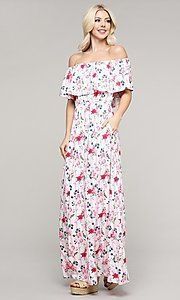 Image of off-the-shoulder casual long summer maxi dress. Style: FG-NXS-21-CWDMD152 Front Image