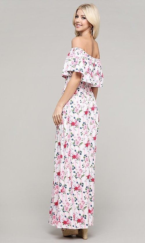 Image of off-the-shoulder casual long summer maxi dress. Style: FG-NXS-21-CWDMD152 Back Image