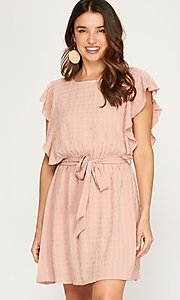 Image of flutter cap sleeve woven short casual dress. Style: FG-BNB-21-SSSS79778 Front Image