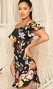 Image of off-the-shoulder short floral-print party dress. Style: FG-RTM-21-ID6234EPB Detail Image 2