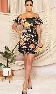 Image of off-the-shoulder short floral-print party dress. Style: FG-RTM-21-ID6234EPB Detail Image 3