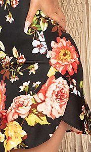 Image of off-the-shoulder short floral-print party dress. Style: FG-RTM-21-ID6234EPB Detail Image 6