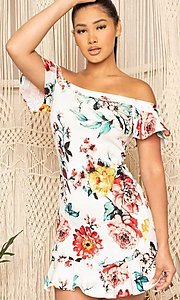 Image of off-the-shoulder short floral-print party dress. Style: FG-RTM-21-ID6234EPB Detail Image 1