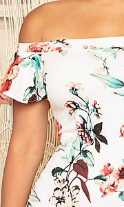 Image of off-the-shoulder short floral-print party dress. Style: FG-RTM-21-ID6234EPB Detail Image 5
