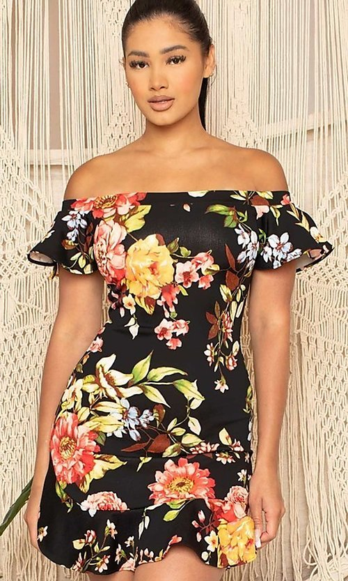 Image of off-the-shoulder short floral-print party dress. Style: FG-RTM-21-ID6234EPB Front Image