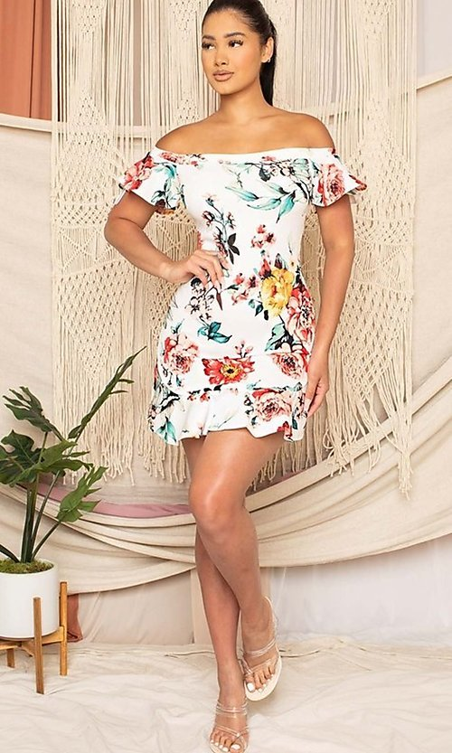 Image of off-the-shoulder short floral-print party dress. Style: FG-RTM-21-ID6234EPB Detail Image 4