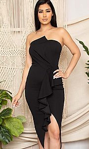 Image of strapless sexy short ruffled black cocktail dress. Style: FG-RTM-21-ID7928CP Front Image