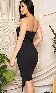 Image of strapless sexy short ruffled black cocktail dress. Style: FG-RTM-21-ID7928CP Back Image