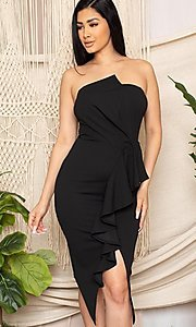 Image of strapless sexy short ruffled black cocktail dress. Style: FG-RTM-21-ID7928CP Detail Image 1