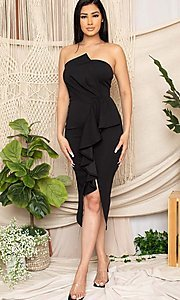 Image of strapless sexy short ruffled black cocktail dress. Style: FG-RTM-21-ID7928CP Detail Image 2