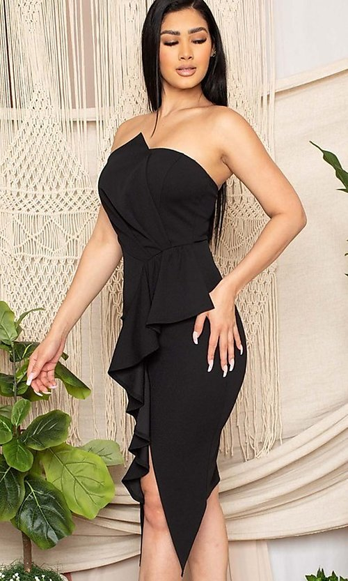 Image of strapless sexy short ruffled black cocktail dress. Style: FG-RTM-21-ID7928CP Detail Image 3