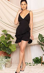Image of ruffled strappy open-back short sexy party dress. Style: FG-RTM-21-D8020APR Detail Image 5