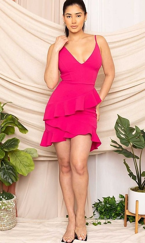 Image of ruffled strappy open-back short sexy party dress. Style: FG-RTM-21-D8020APR Detail Image 1