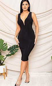 Image of sexy black knee-length wedding guest party dress. Style: FG-RTM-21-D25300A Detail Image 1