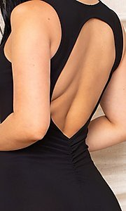 Image of sexy black knee-length wedding guest party dress. Style: FG-RTM-21-D25300A Detail Image 2