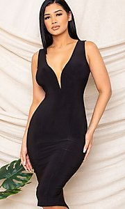 Image of sexy black knee-length wedding guest party dress. Style: FG-RTM-21-D25300A Detail Image 3