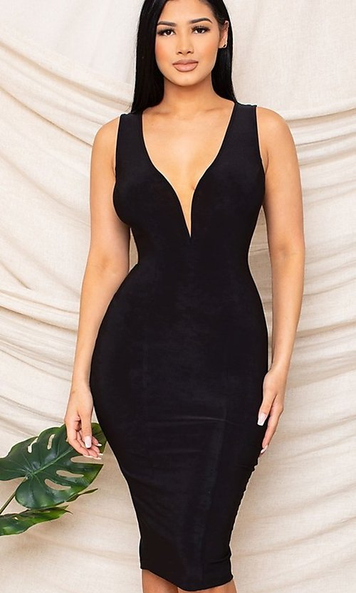 Image of sexy black knee-length wedding guest party dress. Style: FG-RTM-21-D25300A Front Image