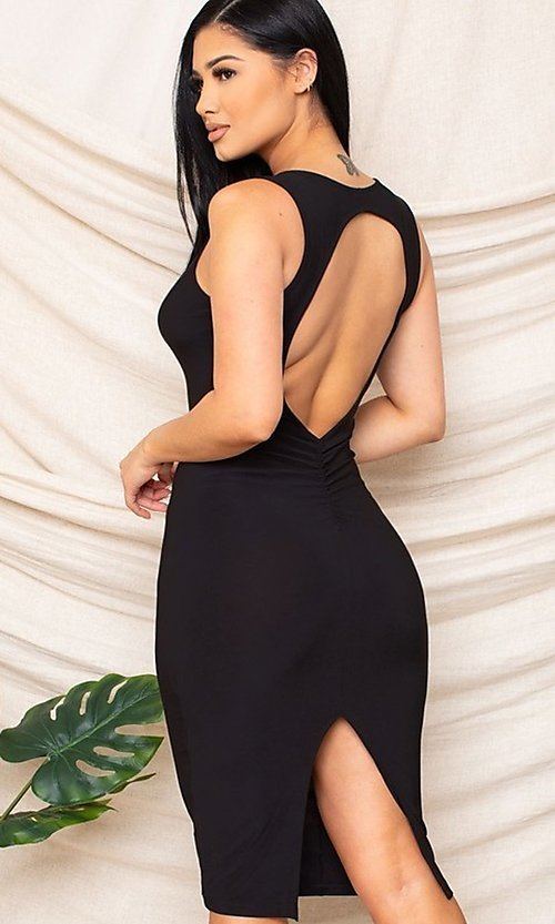 Image of sexy black knee-length wedding guest party dress. Style: FG-RTM-21-D25300A Back Image