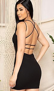 Image of sexy open strappy-back tight short party dress. Style: FG-RTM-21-D25112AR Front Image