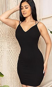 Image of sexy open strappy-back tight short party dress. Style: FG-RTM-21-D25112AR Detail Image 1