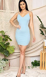 Image of sexy open strappy-back tight short party dress. Style: FG-RTM-21-D25112AR Detail Image 4