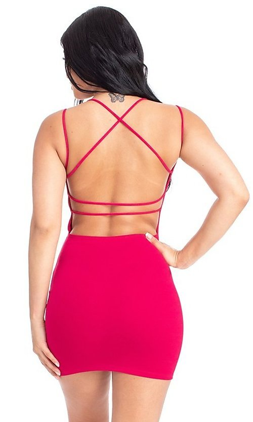 Image of sexy open strappy-back tight short party dress. Style: FG-RTM-21-D25112AR Detail Image 7