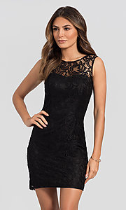Image of sleeveless semi-formal short lace cocktail dress. Style: DQ-21-8767 Front Image