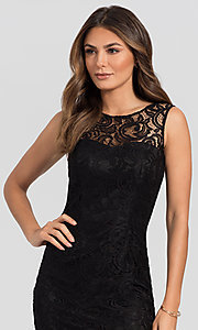 Image of sleeveless semi-formal short lace cocktail dress. Style: DQ-21-8767 Detail Image 1