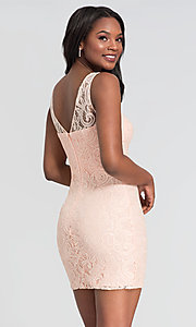 Image of sleeveless semi-formal short lace cocktail dress. Style: DQ-21-8767 Detail Image 6