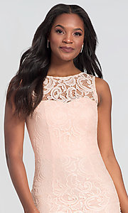 Image of sleeveless semi-formal short lace cocktail dress. Style: DQ-21-8767 Detail Image 7