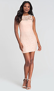 Image of sleeveless semi-formal short lace cocktail dress. Style: DQ-21-8767 Detail Image 8