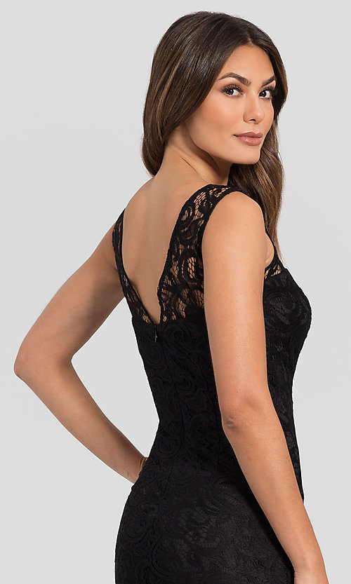 Image of sleeveless semi-formal short lace cocktail dress. Style: DQ-21-8767 Detail Image 2