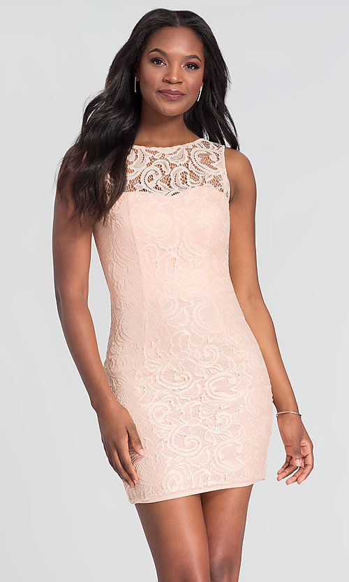 Image of sleeveless semi-formal short lace cocktail dress. Style: DQ-21-8767 Detail Image 5
