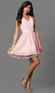 Image of lace-back blush pink short homecoming party dress. Style: DQ-21-9837 Detail Image 1