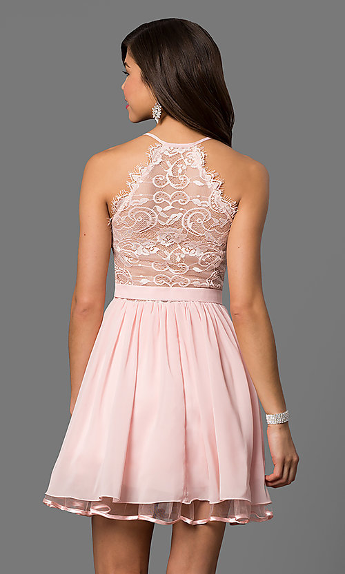 Image of lace-back blush pink short homecoming party dress. Style: DQ-21-9837 Back Image