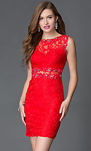 Image of sheer-back short lace homecoming party dress. Style: DQ-21-9099 Front Image