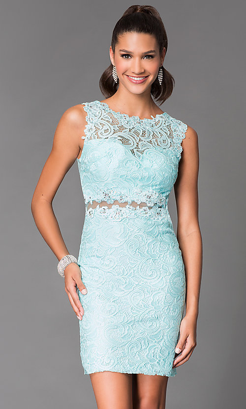 Image of sheer-back short lace homecoming party dress. Style: DQ-21-9099 Detail Image 1
