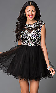 Image of beaded-bodice short babydoll homecoming dress. Style: DQ-21-9149 Front Image
