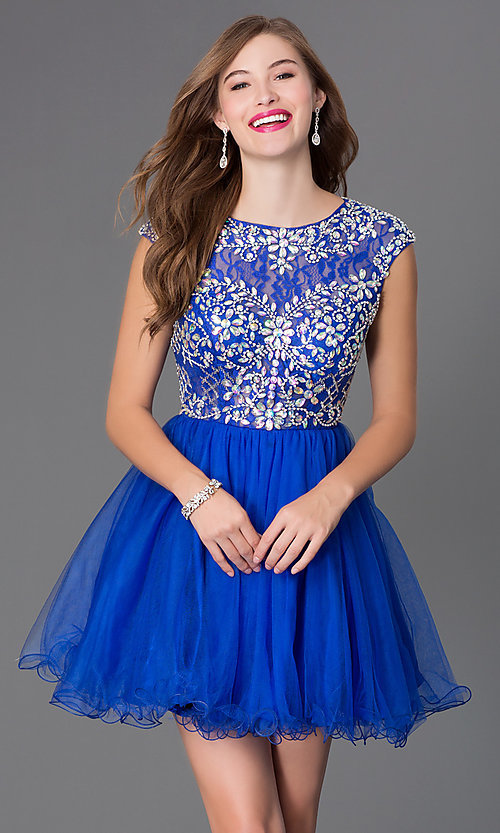 Image of beaded-bodice short babydoll homecoming dress. Style: DQ-21-9149 Detail Image 1