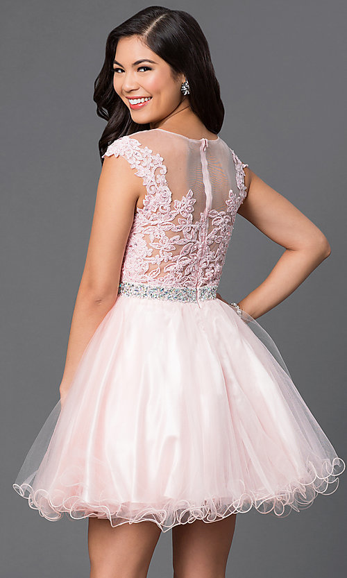 Image of embroidered short babydoll formal homecoming dress. Style: DQ-21-9489 Back Image