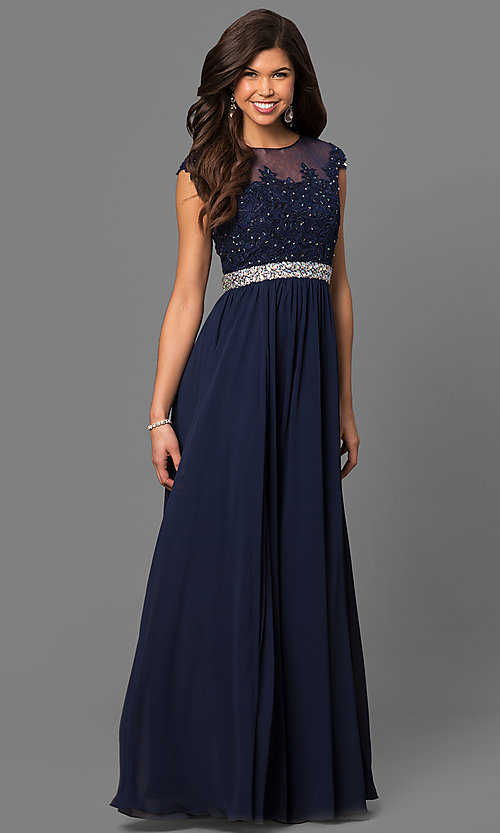 Image of long formal prom gown with cap sleeves. Style: DQ-21-9400 Front Image